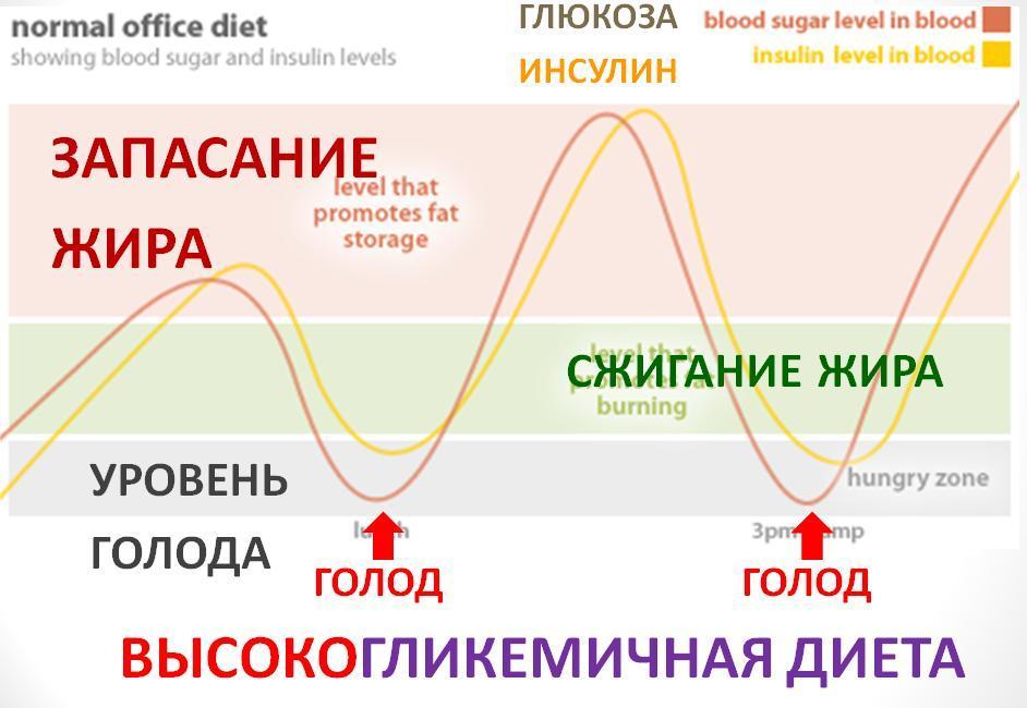 Кривая уровня сахара попадает в красную зону запасания жира.